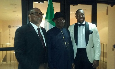Former Governor of Anambra State Peter Obi, and Ex-President Goodluck Jonathan at the event in US